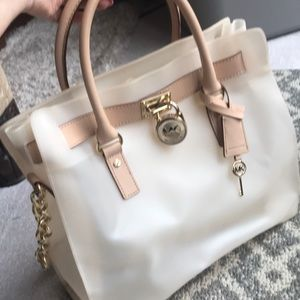 Michael Kors large plastic and leather tote